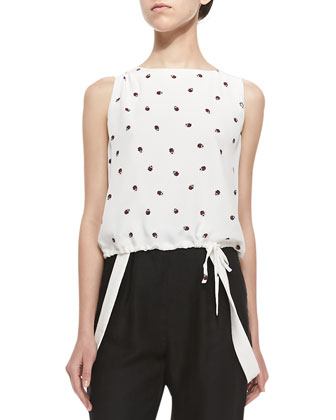 Sleeveless Ladybug Top W/ Drawstring