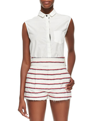 Striped Schoolboy Blazer, Short Shorts & White Sleeveless Shirt