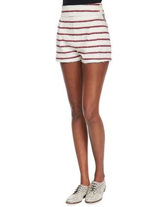 Striped Schoolboy Blazer, Short Shorts & White Sleeveless Shirt