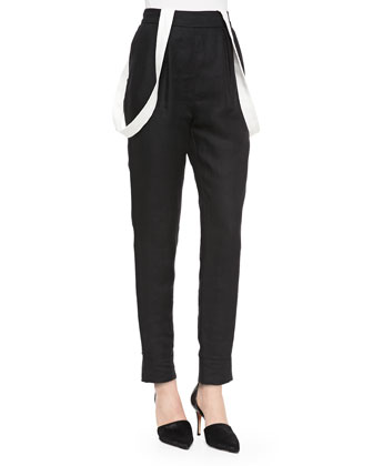 High-Waist Linen Pants with Suspenders