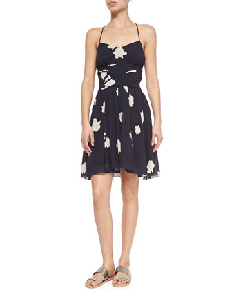 Printed Slip Dress W/ Crisscross Waist