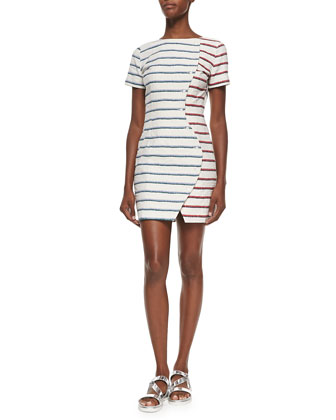 Short-Sleeve Striped Wavy-Placket Dress