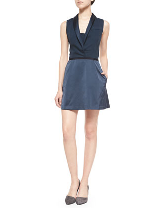 Sleeveless Blazer Dress W/ Crisscross Back