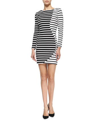 Wavy Striped Long-Sleeve Dress