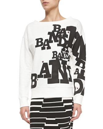 Boat-Neck Banda/Ladybug Sweatshirt & Striped Pyramid Steps Mini Skirt