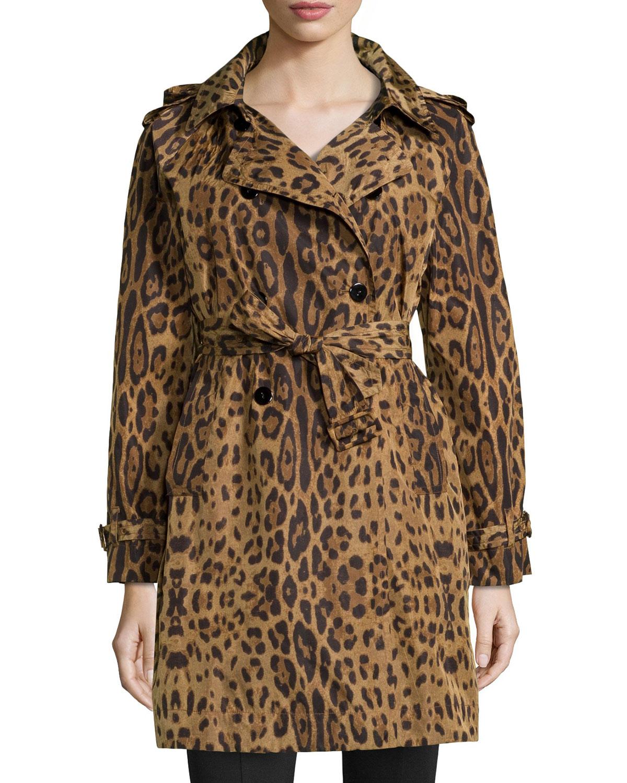 Leopard-Print Trench Raincoat, Women's, Size: MEDIUM (8-10), Leopard - Jane Post