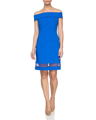 Off-the-Shoulder Sheath Dress, Bright Cobalt