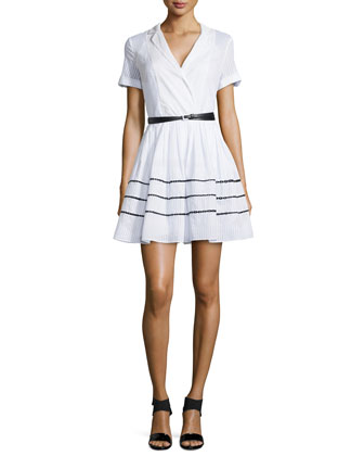 Lace-Inset Short-Sleeve Shirtdress