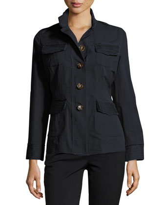 Raw-Edge Lightweight Jacket, Navy