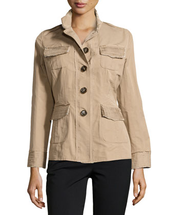 Button-Front Raw Edge Jacket