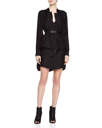 Belted Double-Layer Shirtdress