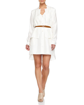 Belted Double-Layer Shirtdress, White
