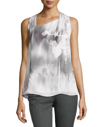 Abstract Print Racerback Silk Top