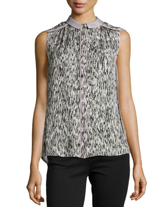 Cap-Sleeve Abstract Print Silk Top