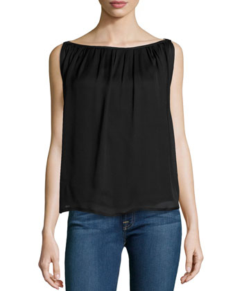 Sleeveless Boat-Neck Pleated Top
