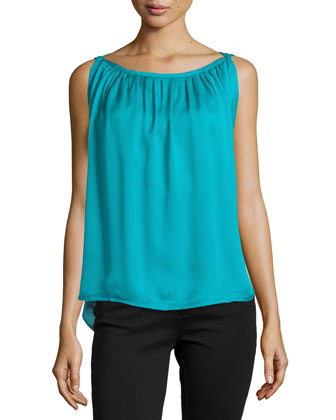 Pleated Sleeveless Boatneck Top