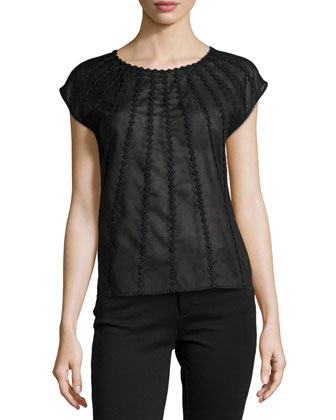 Cap-Sleeve Voile Embroidered Top, Black