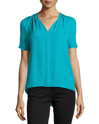 Short-Sleeve Silk Blouse with Pleating