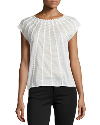 Cap-Sleeve Cotton Voile Top