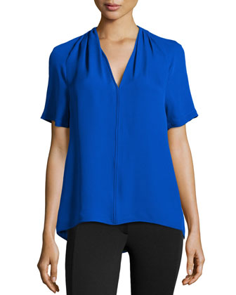 V-Neck Pleated-Shoulder Silk Top, Cobalt