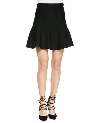 Sabine Flounce Knit Mini Skirt, Black