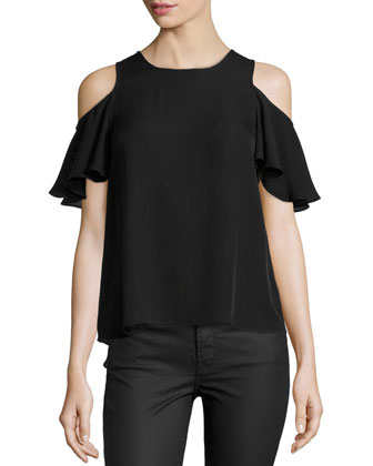 Cold-Shoulder Flutter Top, Black