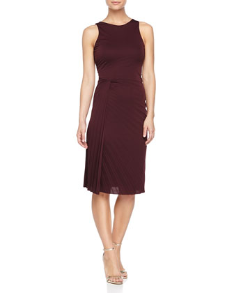 Side-Twist Pleated Dress, Aubergine