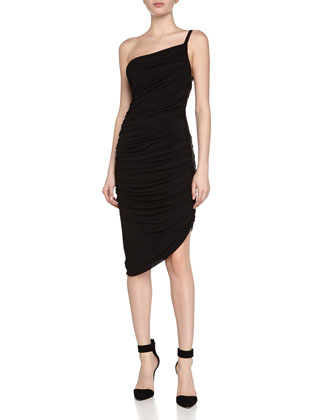 Ruched One-Shoulder Stretch Dress, Black