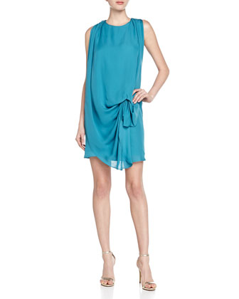 Georgette Cinched-Waist Dress, Teal