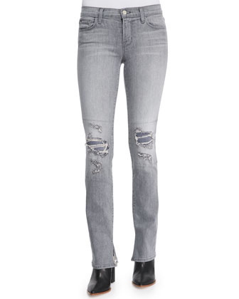 Mid-Rise Rail Distressed Denim Jeans