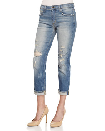 Gretchen Slim-Fit Distressed Boyfriend Jeans