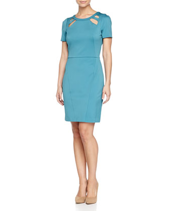 Short-Sleeve Cutout Dress, Teal