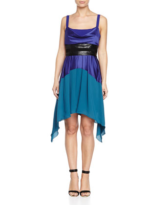 Colorblock Pleated Tank Dress