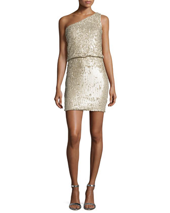 One-Shoulder Sequined Dress, Champagne
