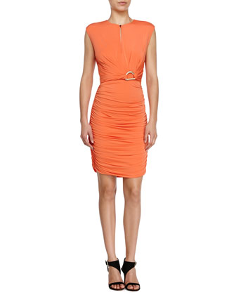 Ruched Surplice-Neck Dress, Flame