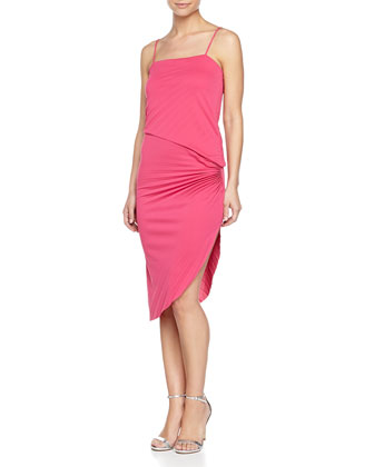 Cami Pleated Dress W/ Side Slit, Berry