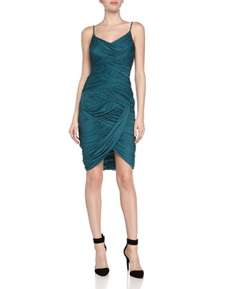 Ruched Cami Dress, Dark Emerald