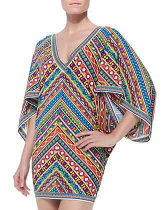 Peruvian Mixed-Print Tunic Coverup