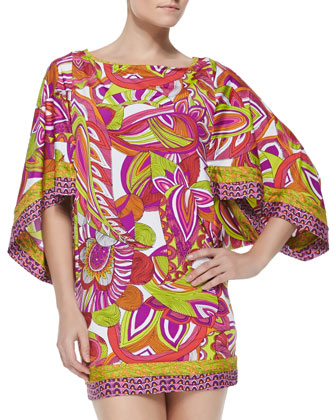 Amazonia Printed Fitted Tunic Coverup