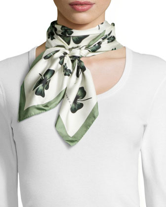 Archive Clover-Print Square Silk Scarf, White/Green