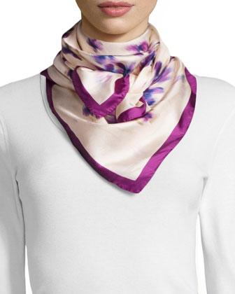 Violet-Print Square Silk Scarf, White/Fuchsia
