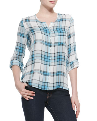 Kariana Plaid-Print Silk Blouse