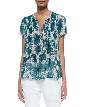 Eitana Botanical-Print Silk Top