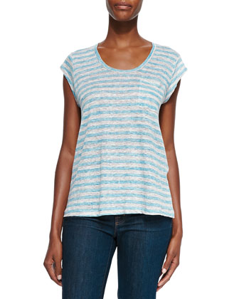 Andea Striped Linen Slub Tee