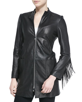 Long Leather Coat W/ Fringe Trim