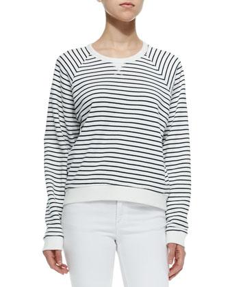 The Glenna Striped Crewneck Sweatshirt & Mid-Rise Super Skinny Jeans