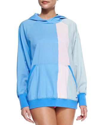 Jodie Colorblock Hooded Popover Coverup