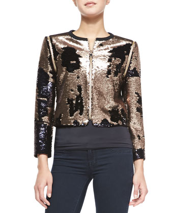 Blubele Cropped Sequined Zip-Front Jacket