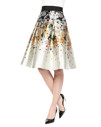 Pleated Party Skirt in Abstract Print
