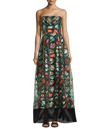 Strapless Bustier Tribal-Print Gown